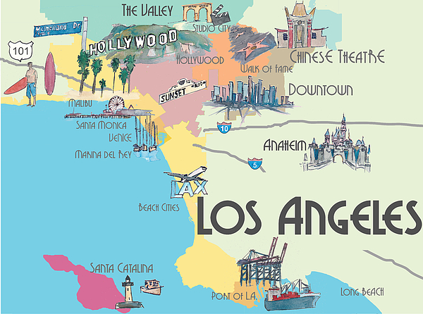 Mapa de onde ficar em Los Angeles: Melhores bairros e regiões