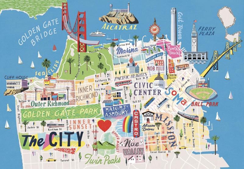 Mapa de San Francisco na Califórnia