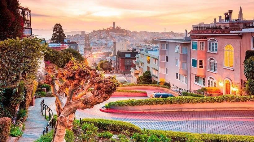 Informações sobre a Lombard Street em San Francisco
