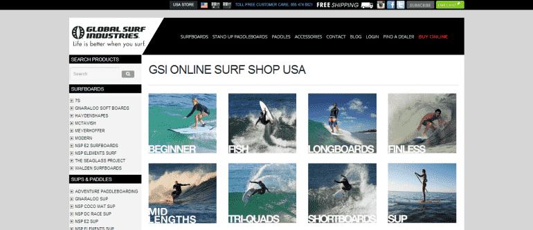 Global Surf Industries para a compra de pranchas e acessórios de surf na Califórnia