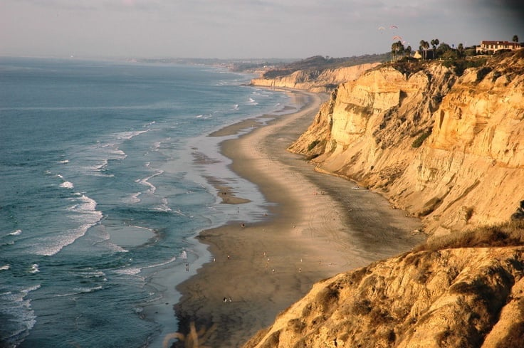 Praia Black´s Beach para surfar em San Diego