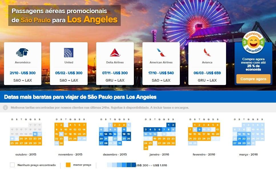 Passagens baratas para Los Angeles e toda a Califórnia