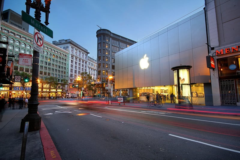 Loja da Apple na Stockton Street em San Francisco na Califórnia