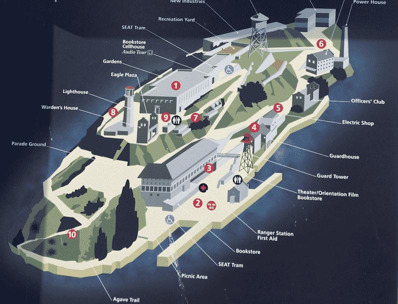 Mapa da Ilha de Alcatraz em San Francisco