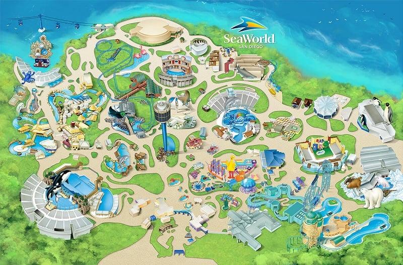 Mapa do Parque SeaWorld em San Diego