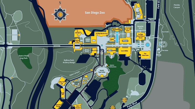 Mapa do Balboa Park em San Diego