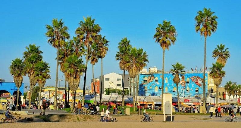 Visita à uma das diversas praias no verão em Los Angeles