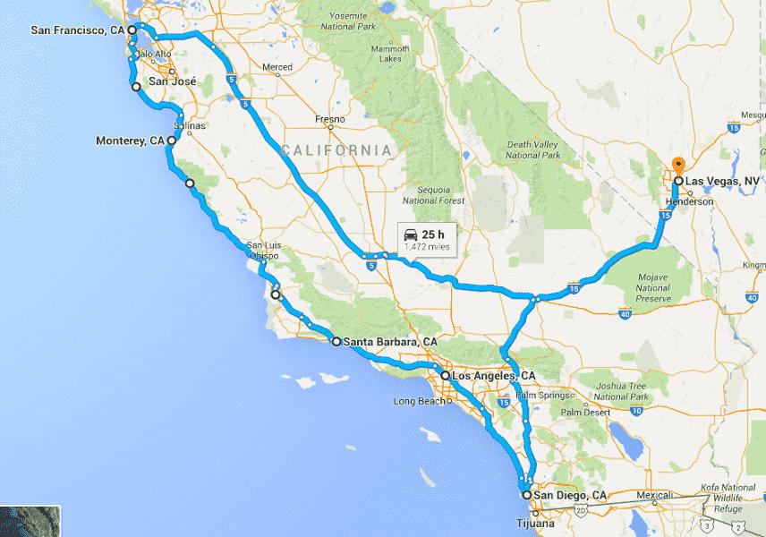 Mapa de uma viagem de carro de Las Vegas à Monterey