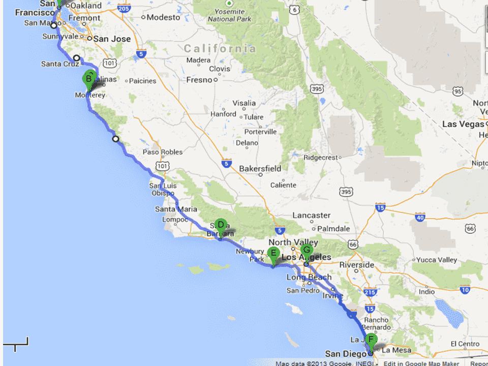 Viagem de carro de Monterey à Los Angeles