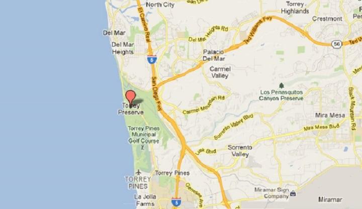 Mapa do Torrey Pines State Natural Reserve em La Jolla