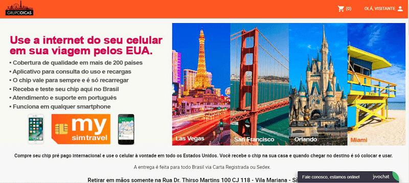 Site para comprar chip pré pago de celular para Califórnia e EUA