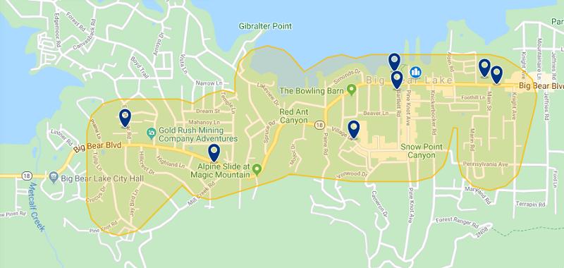 Mapa das melhores regiões para ficar em Big Bear Lake