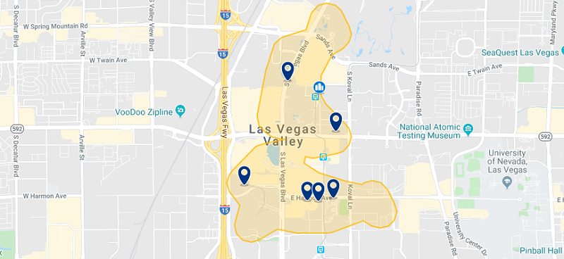 Mapa com as melhores regiões para ficar em Las Vegas