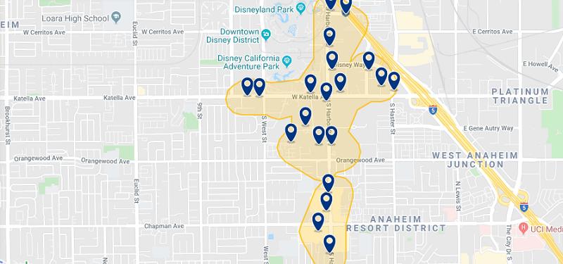 Mapa das melhores regiões para ficar em Huntington Beach