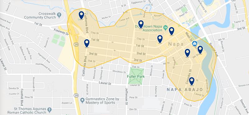 Mapa com as melhores regiões para ficar em Napa