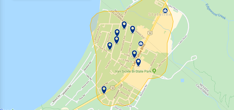 Mapa das principais regiões para ficar em South Lake Tahoe
