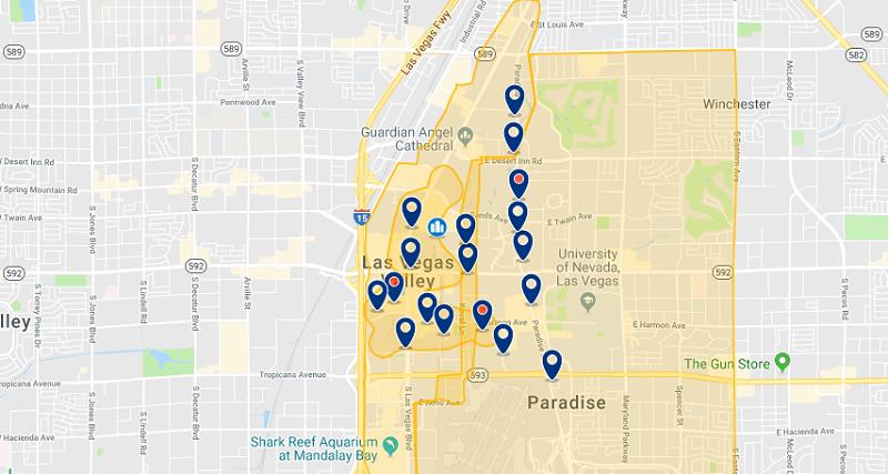 Mapa com as principais regiões para ficar em Las Vegas