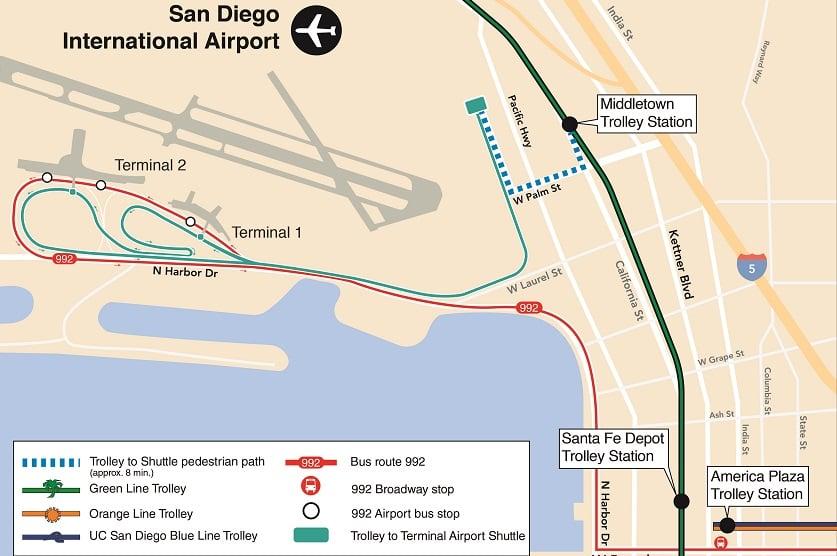 De transporte público do aeroporto até o centro de San Diego