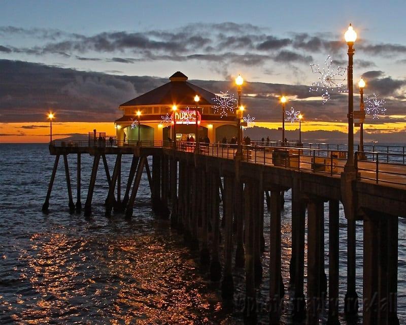 Noite no pier em Huntington Beach