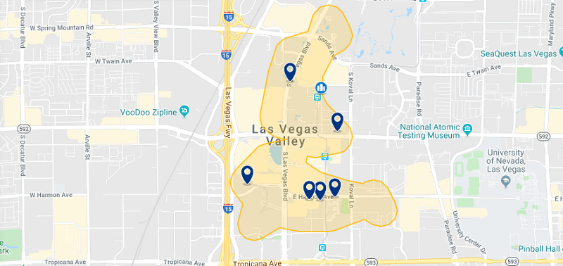 Mapa com a melhor região para ficar em Las Vegas