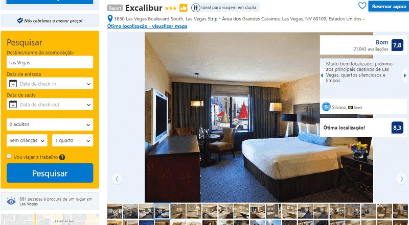 Estadia no Excalibur Hotel & Casino em Las Vegas