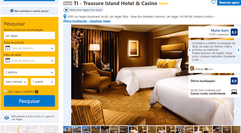 Estadia no Treasure Island Hotel & Casino em Las Vegas