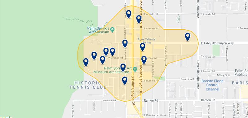 Mapa da melhor região para ficar em Palm Springs
